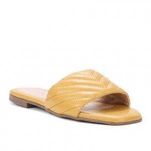 Rasteira Couro Shoestock Palmilha Quadrada Matelassê - Feminino - Amarelo