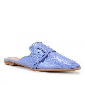 Mule Couro Shoestock Flat Fivela Lezard - Feminino - Azul