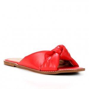 Rasteira Couro Shoestock Slide Nó - Feminino - Vermelho
