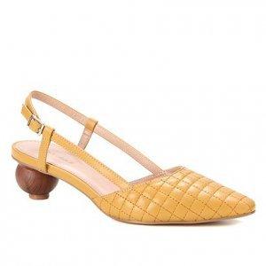 Scarpin Couro Shoestock Slingback Salto Bola - Feminino - Amarelo