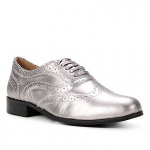 Oxford Couro Shoestock Brogue Amarração Feminino - Feminino - Prata