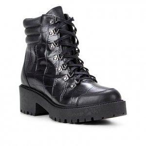Bota Coturno Shoestock Croco Tratorada Feminina - Feminino - Preto