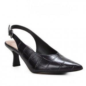Scarpin Couro Shoestock Slingback Croco Salto Médio - Feminino - Preto