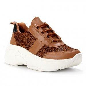 Tênis Couro Shoestock Chunky Pelo Cheetah Feminino - Feminino - Caramelo
