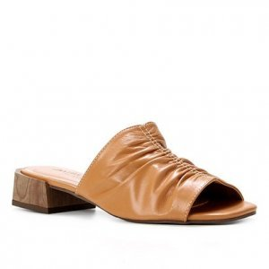 Mule Couro Shoestock For You Salto Médio - Feminino - Marrom Claro