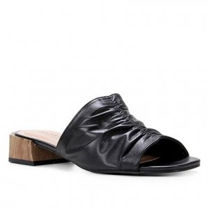 Mule Couro Shoestock For You Salto Médio - Feminino - Preto