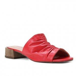 Mule Couro Shoestock For You Salto Médio - Feminino - Vermelho