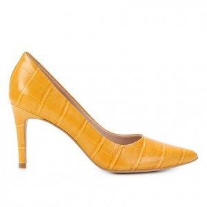 Scarpin Couro Shoestock Graciela Croco Salto Alto - Feminino - Amarelo