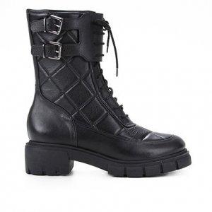 Bota Coturno Shoestock Couro Matelassê Fivelas Feminina - Feminino - Preto