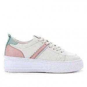 Tênis Couro Shoestock Multicolor Feminino - Feminino - Off White