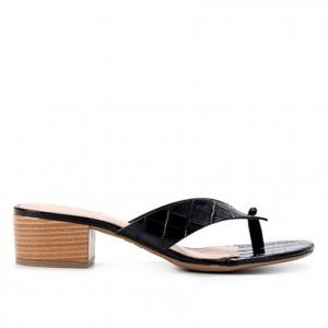Tamanco Couro Shoestock Croco Salto Bloco - Feminino - Preto