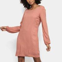 Vestido Acostamento Curto Manga Longa Bufante - Rosa Claro