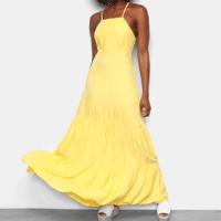 Vestido Longo Mercatto Evasê Babados - Amarelo