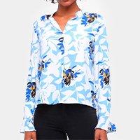 Camisa Road Mel Manga Longa Floral Feminina - Azul