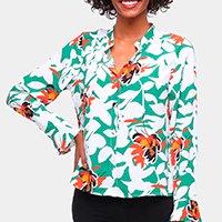 Camisa Road Mel Manga Longa Floral Feminina - Verde