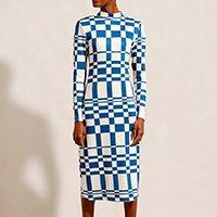 vestido estampado xadrez com ombreiras midi manga longa mindset azul marinho