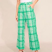 calça wide estampada xadrez alfaiataria com bolsos cintura alta mindset verde