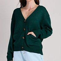 cardigan de tricô feminino mindset oversized com bolsos decote v verde escuro