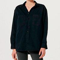 Camisa Jeans Feminina Oversized - Preto