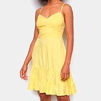 Vestido Curto Mercatto Alça Fina Babados - Amarelo