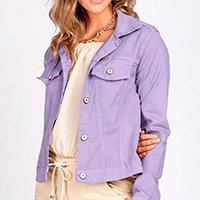 Jaqueta Jeans tipo Moletom Leny Classica Color - Lilás