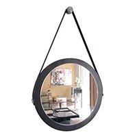 espelho adnet redondo decorativo banheiro para sala para quarto de parede retro com alça 28 cm preto - Houseria
