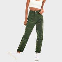calça feminina aragäna mom jeans verde