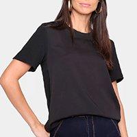 Camiseta Lança Perfurme Básica Manga Curta Feminina - Preto