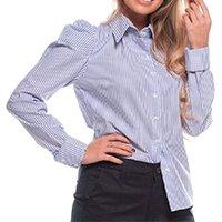 Camisa Botão Feminina Listrada Algodão Manga Bufante - Azul Claro