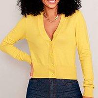 cardigan de tricô básico decote v amarelo