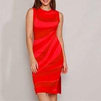 vestido de tricô feminino mindset midi estampado sem manga vermelho