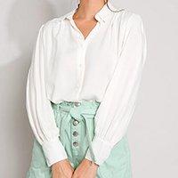 camisa feminina manga bufante off white