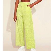 calça feminina mindset wide reta cintura super alta alfaiatada estampada xadrez vichy verde