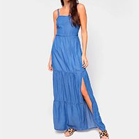 Vestido Cambos Longo Com Fenda E Lastex - Azul Claro