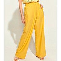 calça feminina mindset obvious wide cintura alta com bolsos amarela