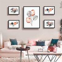 Conjunto kit 5 quadros decorativos geometrico rose gold quarto sala - Real Decora