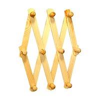 Cabideiro sanfonado de madeira 60cm com 10 pontos - Toda Casa