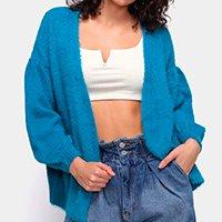 Casaco Farm Tricot Pelinho Feminino - Azul