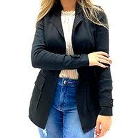 Blazer Trimix Oversized Bolso Quadrado Feminino - Preto