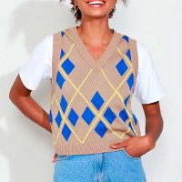 colete de tricô feminino mindset estampado de losangos decote v caramelo