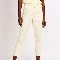 calça jeans feminina mindset reta cintura média com bolsos amarelo claro