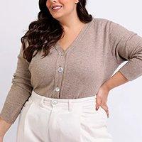 cardigan feminino mindset plus size em tricô decote v bege