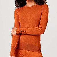 Blusão Feminino Em Tricô Com Elastano E Botões Metalizados - Marrom