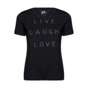 Camiseta Feminina Live Laugh Love Preto Tamanho P