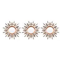 Espelho Decorativo Redondo com Moldura de Parede - Ouro Velho 25x25cm 3 Unidades Inova Vênus