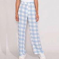 calça feminina reta cintura super alta estampada xadrez vichy azul
