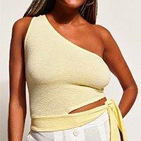 top cropped feminino um ombro só com vazado e amarração alça larga amarelo claro