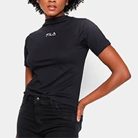 Camiseta Fila Gola Alta Feminina - Preto+Prata