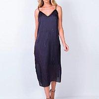 Vestido Lança Perfume Slip Dress Midi Listrado - Preto+Roxo