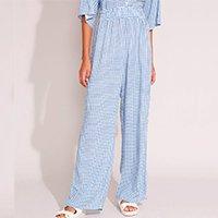 calça wide reta de viscose estampada xadrez cintura alta azul